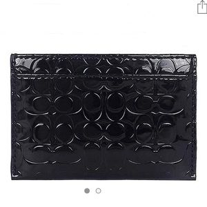 Coach logo embossed glossy card case -patent black